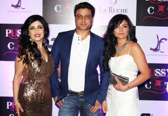 Shibani Kashyap, Producer Jai Singh (Jeet Films & Ents), Shreeya at the launch party of their latest Music Video 'PUSSY CAT' at La Ruche, Bandra.1