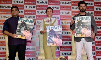Jitesh Pillaai (Editor, Filmfare Magazine), Alia Bhatt & Fawad Khan at the Filmfare Magazine Cover page launch held at Reliance Digital, Juhu.11