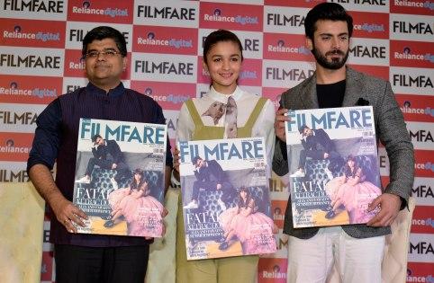 Jitesh Pillaai (Editor, Filmfare Magazine), Alia Bhatt & Fawad Khan at the Filmfare Magazine Cover page launch held at Reliance Digital, Juhu