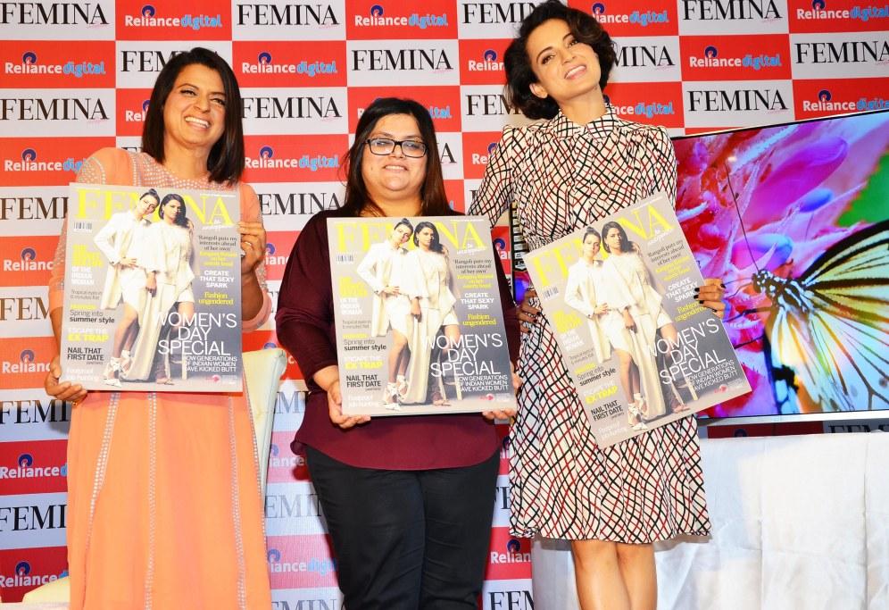 Rangoli, Tanya Chaitanya (Editor, FEMINA) & Kangana Ranaut unveiled FEMINAGÇÖS WomenGÇÖs Day Special issue at Reliance Digital Store, Juhu_
