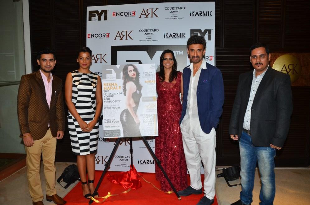 1-Sumit Zarchobe, Mugdha Godse, Nisha Harale, Rahul Dev, Rohit Alag@ FYI cover launch with Nisha Harale
