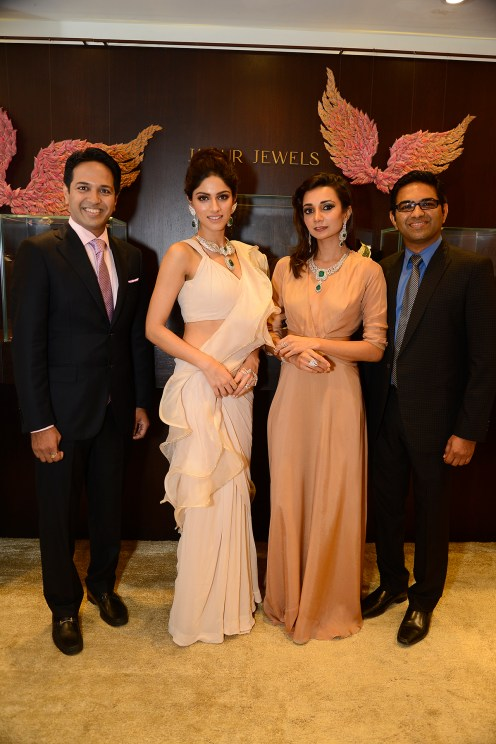 Sapna Pabbi and Ira Dubey with Amit Naheta and Vineet Naheta (Managing Directors, Jaipur Jewels) at Jaipur Jewels Myga Collection Launch
