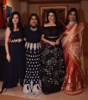 Designer Amy Billimoria, Dr Nandita Palshetkar, Bhagyashree, Dr Rishma Pai @ Amy Billimorias's Show for MOGS