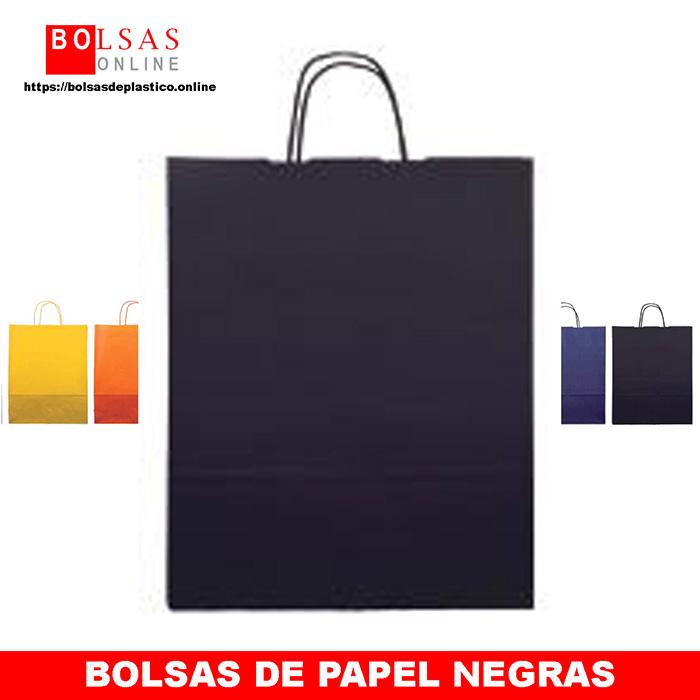 5d4438745 Bolsas de papel negras con asa rizada. - ✓ Bolsas Online