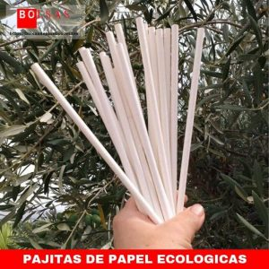 Pajitas de papel ecológicas biodegradables.