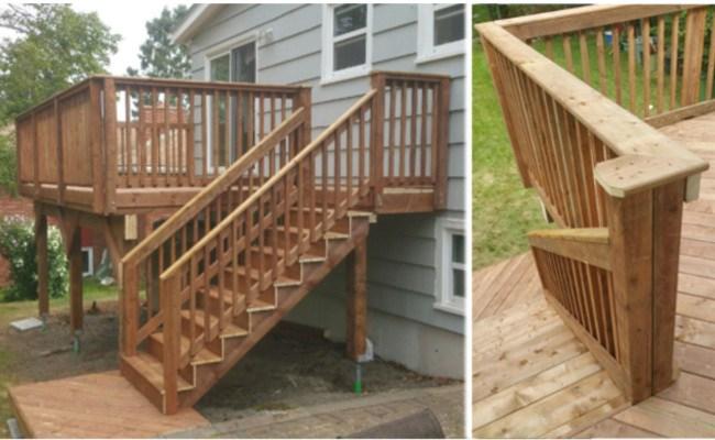Halifax Pool Deck Designs   Pressure Treated Stair Railing