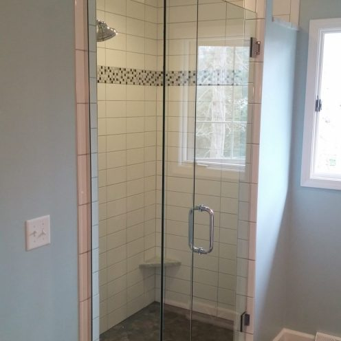 corner shower with glass door