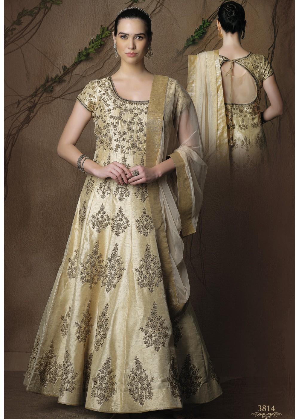 Silk Dress Designs : dress, designs, CREAM, COLOR, FABRIC, DESIGNER