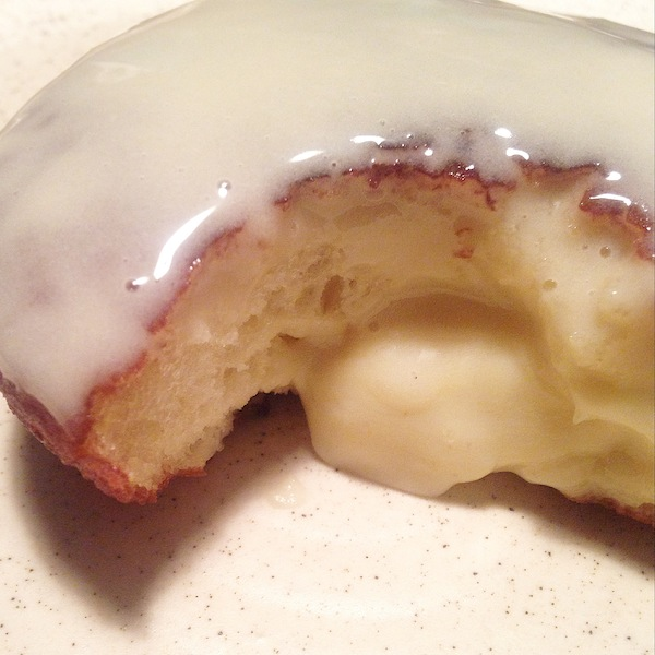 Just look at how lovely and light the inside of that doughnut is. And that's my beautiful homemade custard cream oozing out..