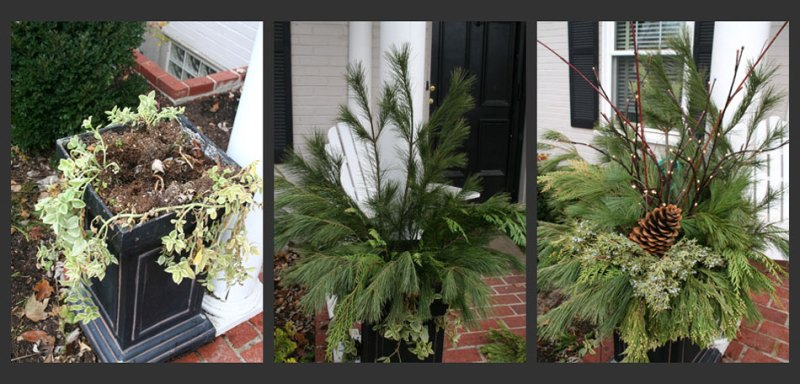 Planter Diy Making Holiday Christmas Front Door