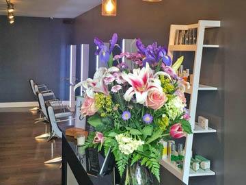 Bouquet on reception desk