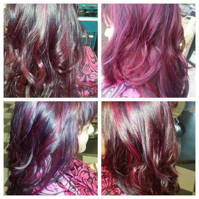 Purple Highlights at Bombshell Hair Shop