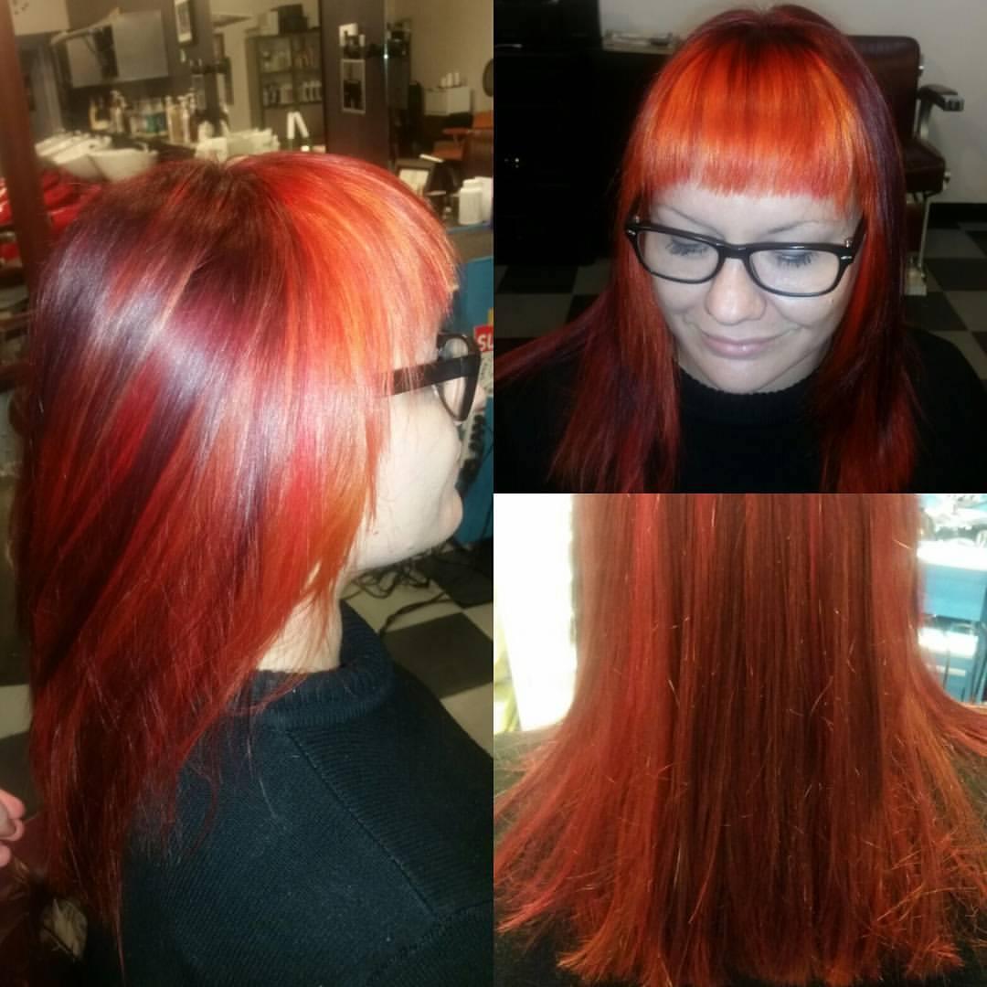 Red Bangs at Bombshell Hair Shop