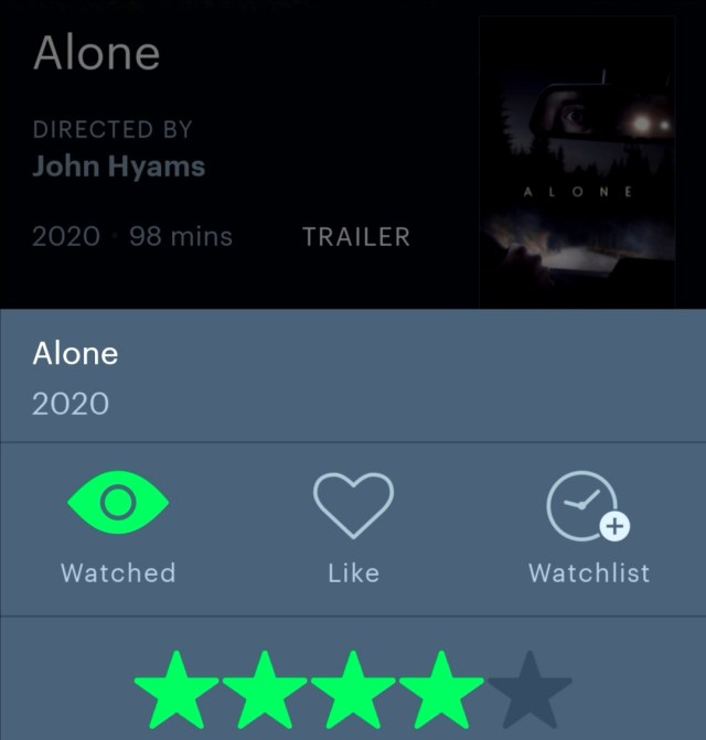 Alone 2020 Letterboxd Star Rating