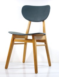 2 fifties design wooden dining chairs, vintage retro