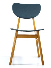 2 fifties design wooden dining chairs, vintage retro design