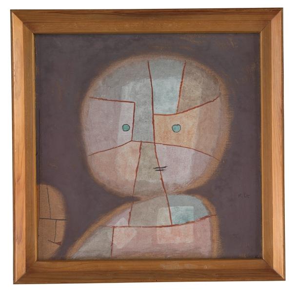 Paul Klee Büste eines Kindes, 1933, 380  Bust of a Child watercolour on cotton on plywood; original frame  50,8 x 50,8 cm  Zentrum Paul Klee, Bern