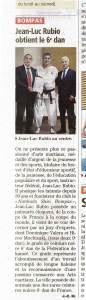 Article Jean-Luc Rubio 6ème Dan