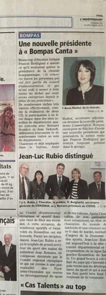 Article paru dans l'Indépendant le 15 février 2015
