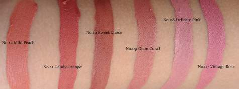 Swatch Pixy Lip Cream No.07, No.08, No.09, No.10, No.11, No.12