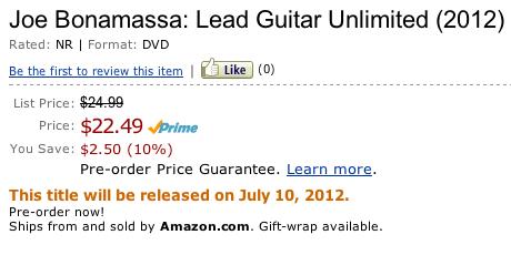Joe bonamassa lead guitar unlimited