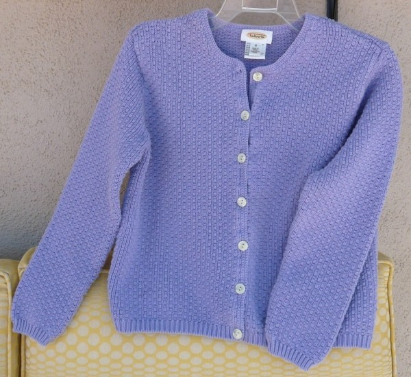 Talbots Ladies Cardigan Sweater Lavender Cotton Knit Size