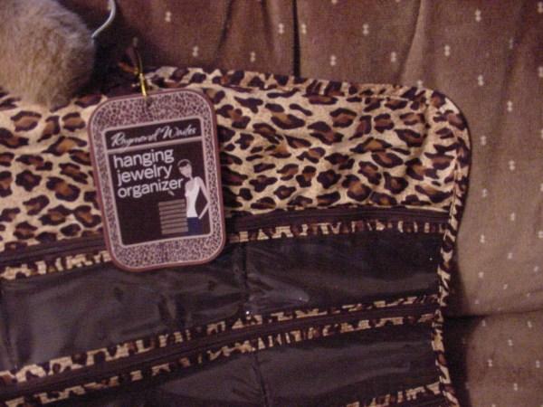 Raymond Waites Leopard Brown Zip Hanging Jewelry Organizer