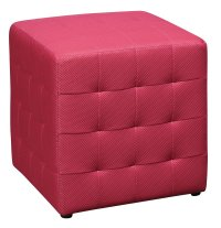 PINK Square Mesh Fabric Cube Ottoman Footstool - Side ...