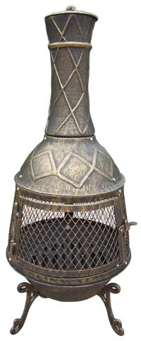 Cast iron Chiminea Fire Pit Fireplace Grill Patio Garden ...