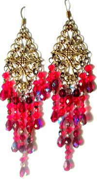 RUBY RED CRYSTAL CHANDELIER EARRINGS VERY VERY SEXY ...