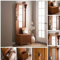 Wooden Brown Slim Hall Tree Storage Furniture Bench Mirror ...