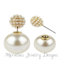 FASHION DOUBLE SIDED STUD PEARL PAVE FRONT BACK PEEKABOO ...
