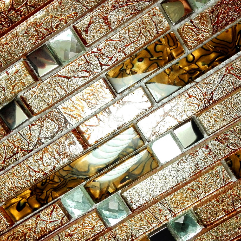 Retro Golden  3dimensional Mosaic Decorative Wall Tile
