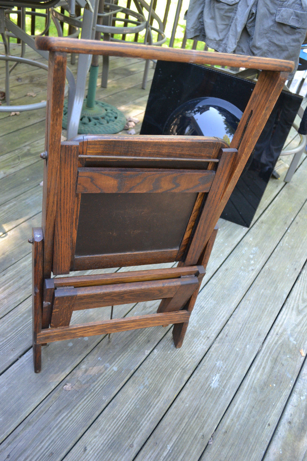 Library Ladder Chair Vtg Antique Wood Folding Library Chair Ladder Step Stool