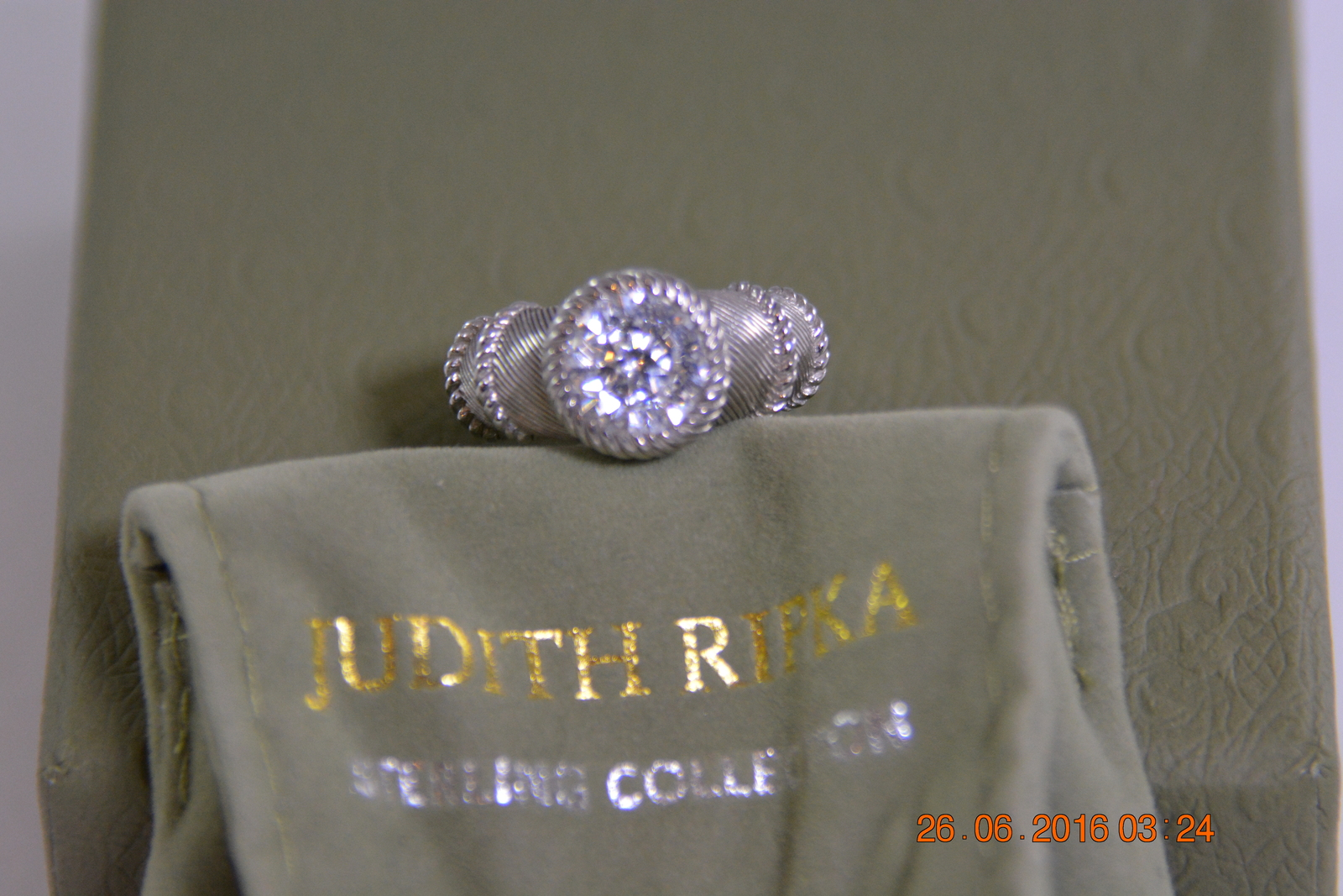 Judith Ripka Sterling Silver and Diamonique Ring / Size 6