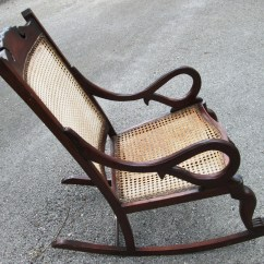 Antique Rocking Chair Commercial Gym Roman Barbados Mahogany With Caned Bottom