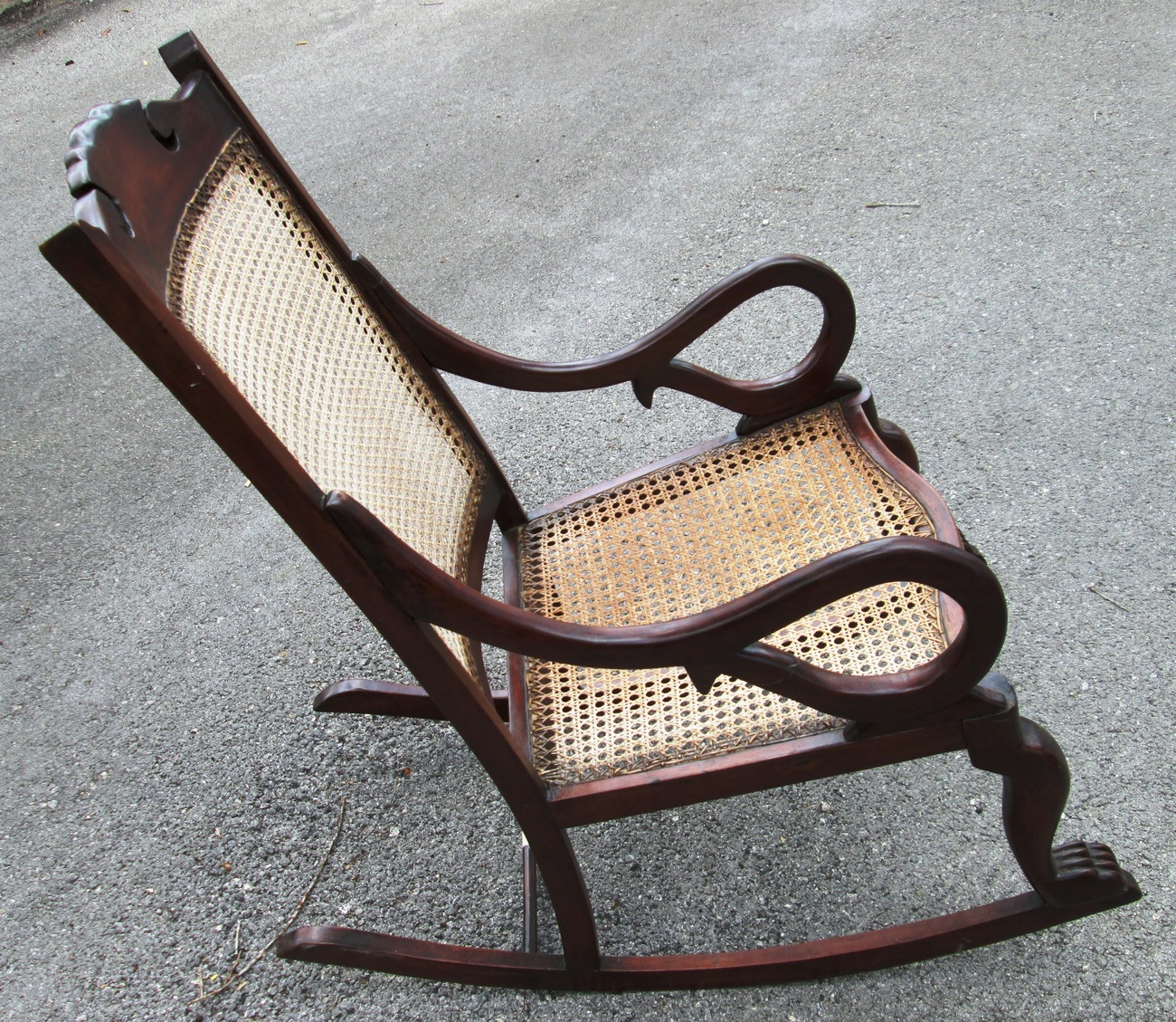 Antique Rocking Chair Antique Barbados Mahogany Rocking Chair With Caned Bottom