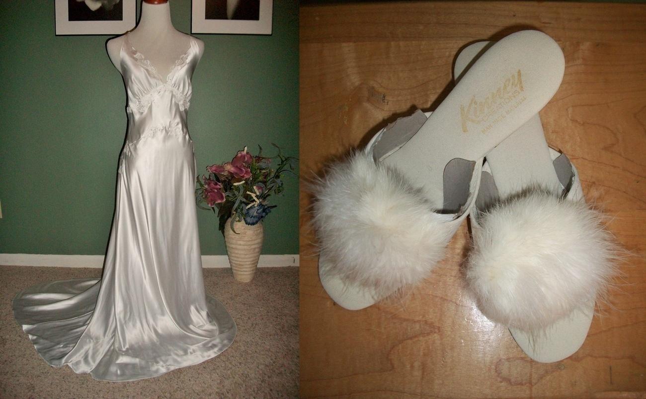 VICTORIA SECRET Bridal Nightgown wTRAIN  Marabou