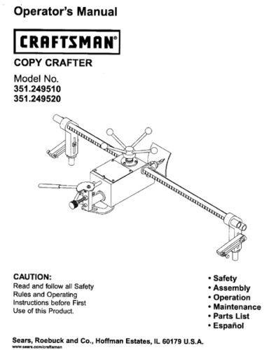 Sears Craftsman Lathe Copy Crafter Manual 351.249510