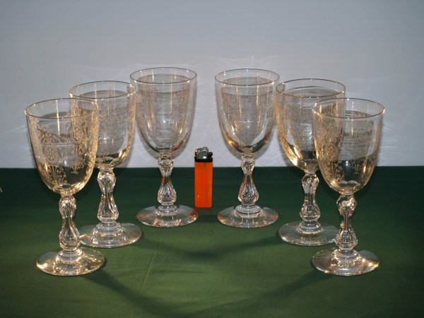 Set Of 6 Antique Crystal Cut And Etched Wine Glasses