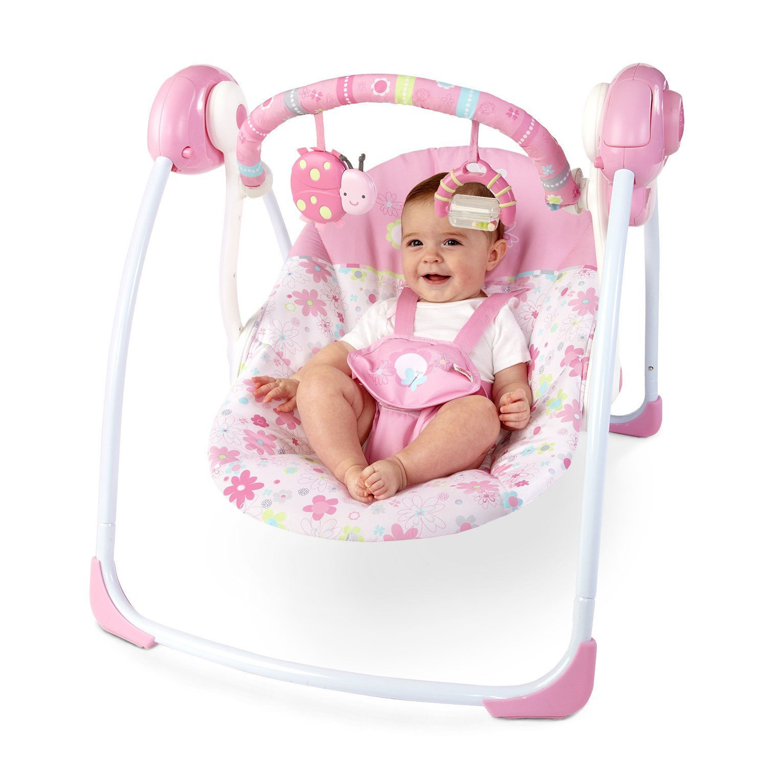 Baby Girl Portable Pink Swing 6 speeds & 2 reclines Mobile