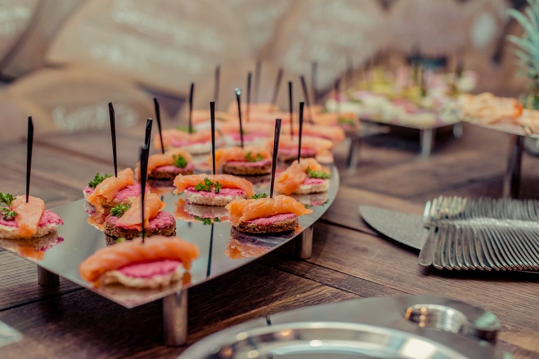 Salmon Canapes on the Stainless Steel Wave
