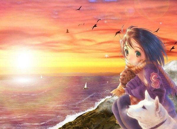 personnage manga et son chien à la mer