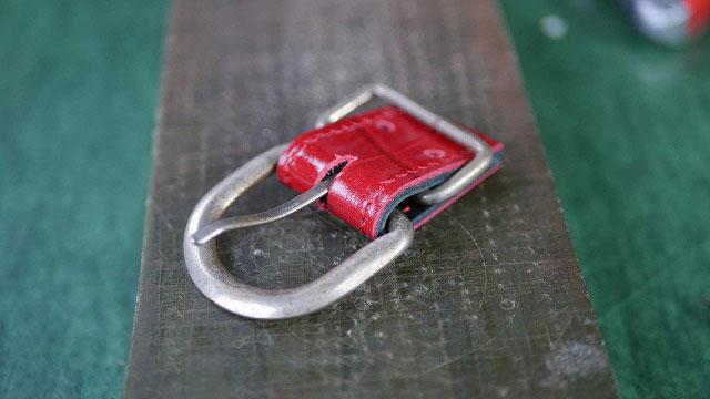(ゴルフバッグ)ショルダーベルト根革作製