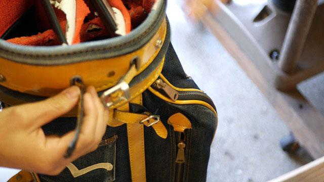 (EVISU)エヴィス / キャディバッグの仕切り固定ベルトを取り外す