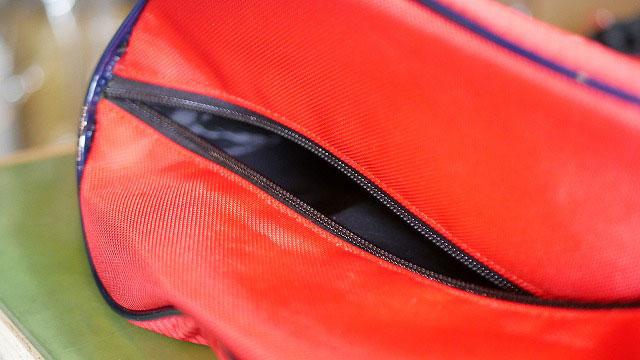 (キャディバッグ)フードカバーのファスナー縫製