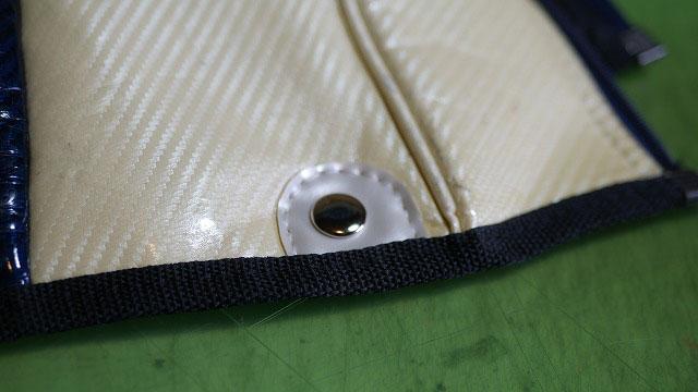 (MIZUNO)ミズノ/キャディバッグフードカバーの穴が広がってホックが外れたところを生地補強してホック交換修理