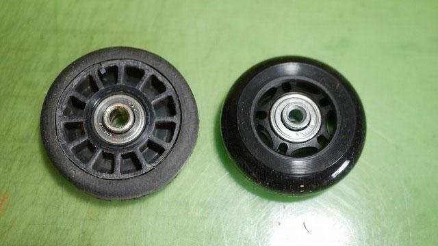 (TUMI)トゥミ/ビジネスキャリーバッグの純正車輪と汎用車輪の比較