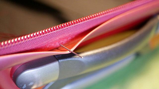 (Proteca)プロテカ/スーツケースのハンドル交換後のファスナー縫製