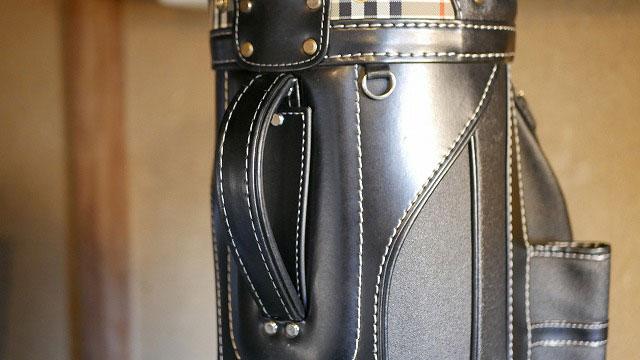 (BURBERRY)バーバリー/キャディバッグのハンドル部分に補強板を取り付け